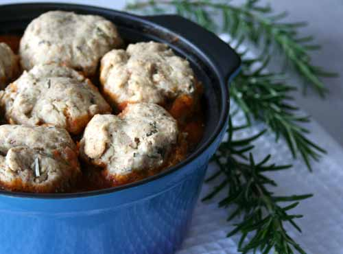 Chestnut Casserole with Herby Dumplings