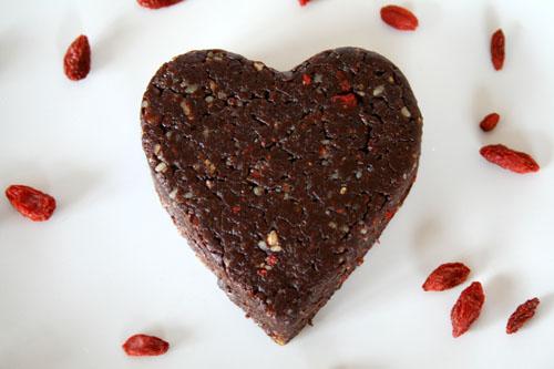 Raw No Bake Chocolate Pecan Brownie Heart - 500