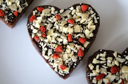 Valentines Chocolate Black Bean Brownie with Almonds & Gojis