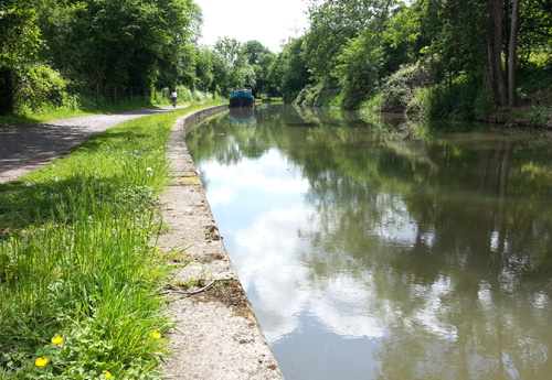 Riding along the Kennet & Avon Canal Towpath