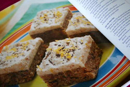 Ricki Heller Raw Frosted Lemon Poppy Seed Squares
