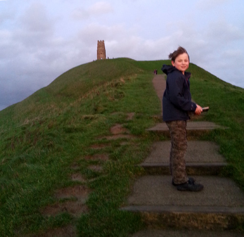 Walking up to Glastonbury Tor