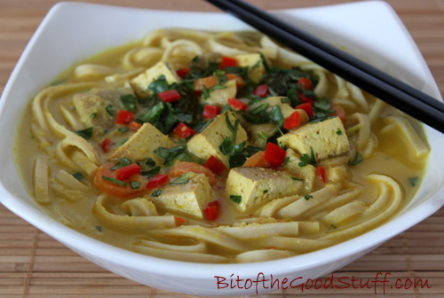 Malaysian Coconut Noodle Soup with Smoked Tofu