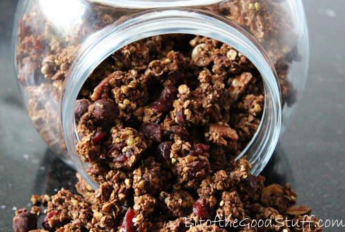Chocolate Granola Clusters with Hazelnuts, Pecans & Cranberries