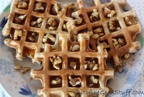Vegan Waffles with walnuts and maple syrup