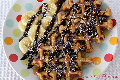 Gingerbread Waffles with Chocolate Sauce