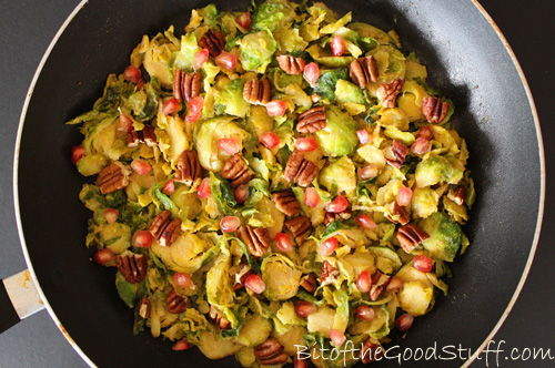 Sweet Miso Brussels Sprout Hash with Pecans and Pomegranate