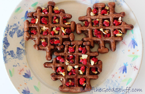 Chocolate Waffles with Crushed Nuts and Raspberries