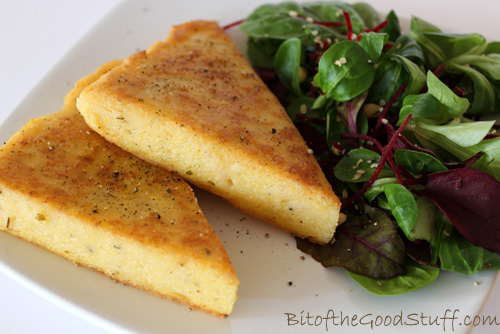 Seared Polenta with Colourful Salad Leaves, Hempseeds and Hummus