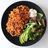 Mexican Black Bean Rice with Spicy Sausage. Vegan. Gluten-Free.