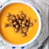 Creamy Butternut Squash Soup with Maple-Glazed Chickpeas